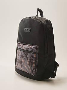 Рюкзак HOUSE - Черный с принтом пиксель камо на кармане