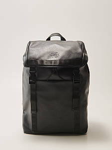 Рюкзак HOUSE - Кожаный чёрный с клапаном на затяжке (шкіряний чорний)