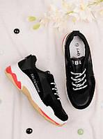 Чёрные кроссовки женские на шнуровке 25781, фото 1