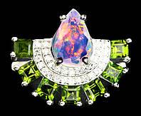 """CСеребряное яркое колечко с хромдиопсидом и опалом  """"Веер"""" размер 17,1, фото 1"""