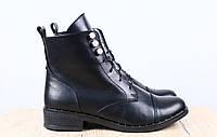 Ботинки женские демисезонные на шнуровке, материал - натуральная кожа, черные