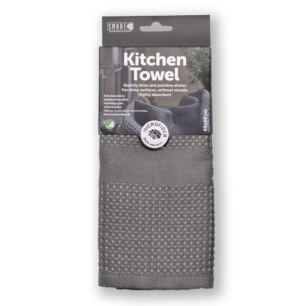 """Кухонное полотенце """"Блеск"""" SMART Microfiber серого цвета"""