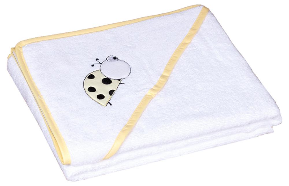 Полотенце Baby Nito 100x100 в коробке Белый с апликацией (божья коровка)