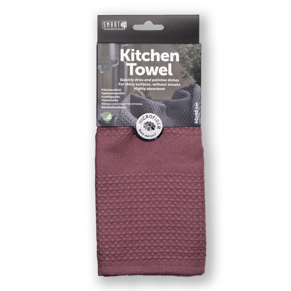 """Кухонное полотенце """"Блеск"""" SMART Microfiber System темно-красного цвета"""