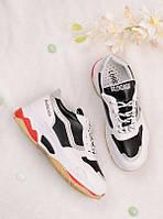 Черные с белым кроссовки женские 25744, фото 1