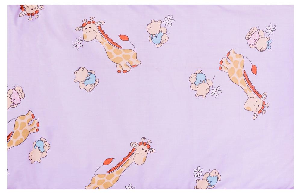 Постель Qvatro Защита на стеночки в кроватке GOLD Сиреневые (жирафики)