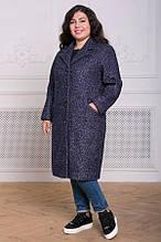 Прямое пальто из букле Мириам серо-голубое(54-60)