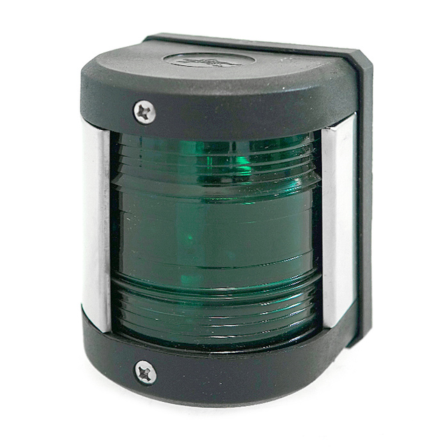 Навигационный огонь для катера зеленый led корпус черный