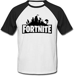 Футболка Fortnite Battle Royale Logo (белая с чёрными рукавами)
