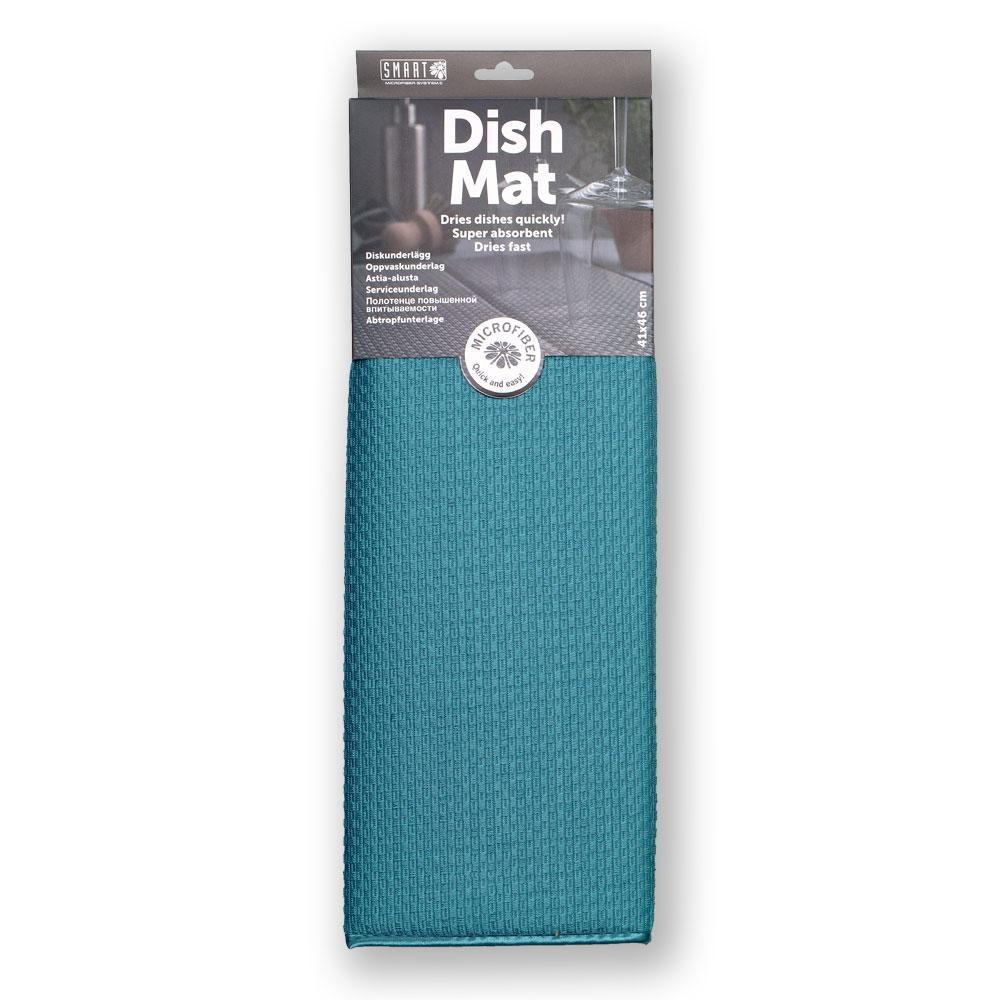 Коврик для посуды повышенной впитываемости SMART Microfiber System бирюзового цвета
