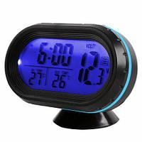 Автомобильные часы с термометром и вольтметром VST 7009V синие, фото 1