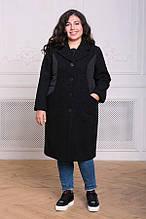 Комбинированное пальто Пирс черное(54-60)