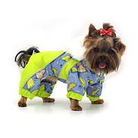Комбинезон для собак Фантазия с капюшоном салатовый, фото 1