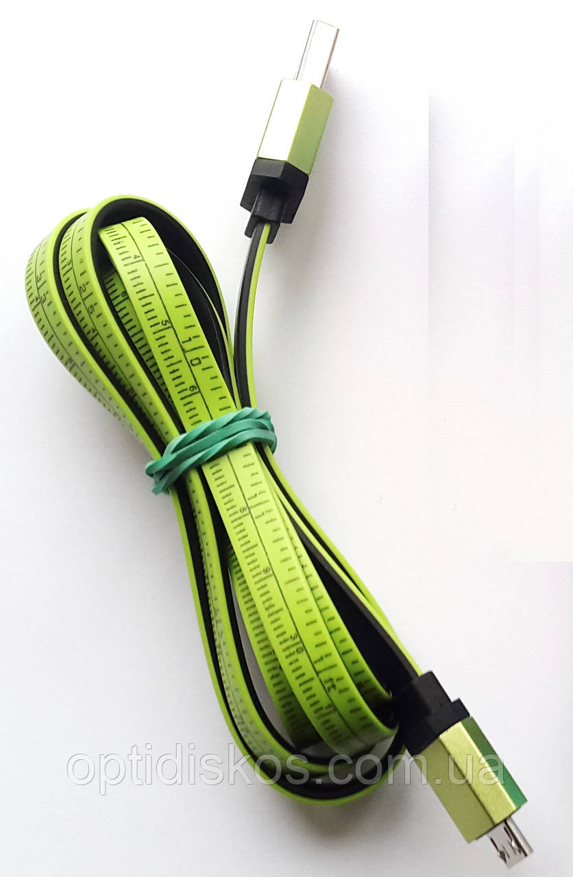 Кабель USB-micro USB, сантиметр, 1м, зеленый