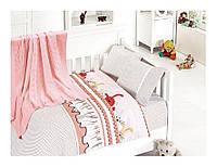 Комплект постельного белья детский с вязаным пледиком First Choice Baby Nirvana Set Ginny Pudra бамбук 100*150, фото 1