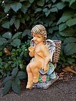 Садовая фигура Ангел с корзиной 33 см