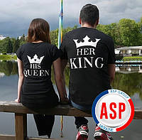 Футболки парні король, королева, принцеса her King his Queen для закоханих