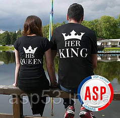 футболки парные для влюбленных Кинг Квин King Queen Король и королева с  надписями под заказ. печать на парных футболках на 14 февраля 795c8e832d8b2