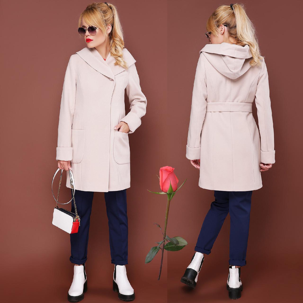 Модное демисезонное пальто с шикарным капюшоном  GL  77003   Бежевый