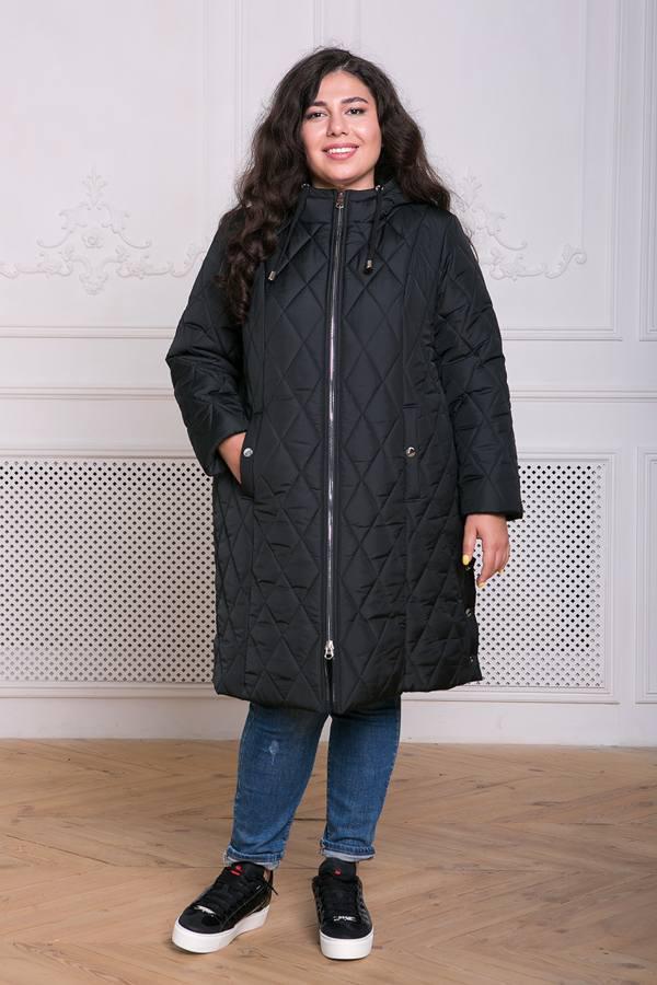 Пальто из стеганой ткани Мейли черное(54-60)