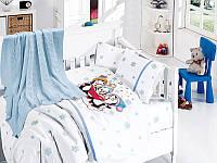 Комплект постельного белья детский с вязаным пледом First Choice Baby Nirvana Penguins Mavi бамбук 100*150, фото 1