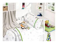 Комплект постельного белья детский с вязаным пледом First Choice Baby Nirvana Penguins Yesil бамбук 100*150, фото 1