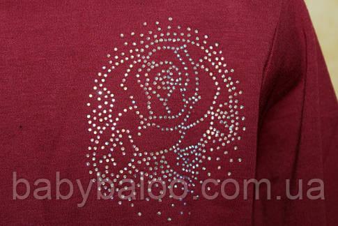Стойка длинный рукав роза камни(от 6 до 9 лет), фото 2