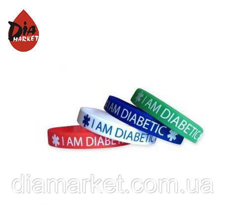 """Браслет силиконовый """"I am Diabetic"""" - для взрослых"""