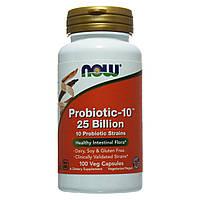 Пробиотик-10, Probiotic, Now Foods, 25 млрд КОЕ, 100 капсул, фото 1