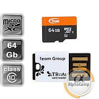 Карта памяти microSDXC 64GB Team Class 10 UHS-I (TUSDX64GUHS29) + USB Card-reader TR11A1