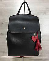 """Молодежнаясумка-рюкзак """"Tassel"""". Цвет черный, с кисточкой и сердечком красного цвета"""