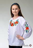 Вишита блуза для дівчинки із маками «Українські Барви»