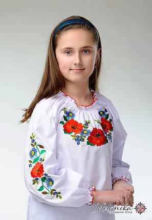 """Вышитая блузка для девочки с маками """"Украинские краски», фото 2"""