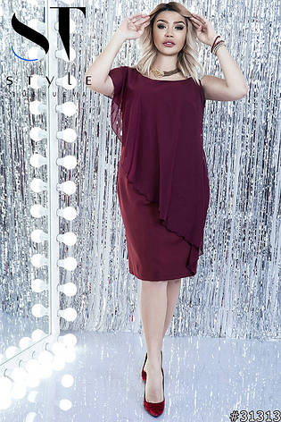 Стильна елегантна вечірня сукня великих розмірів марсала розмір 48-50 50-52  52- 13ec1c05c4160
