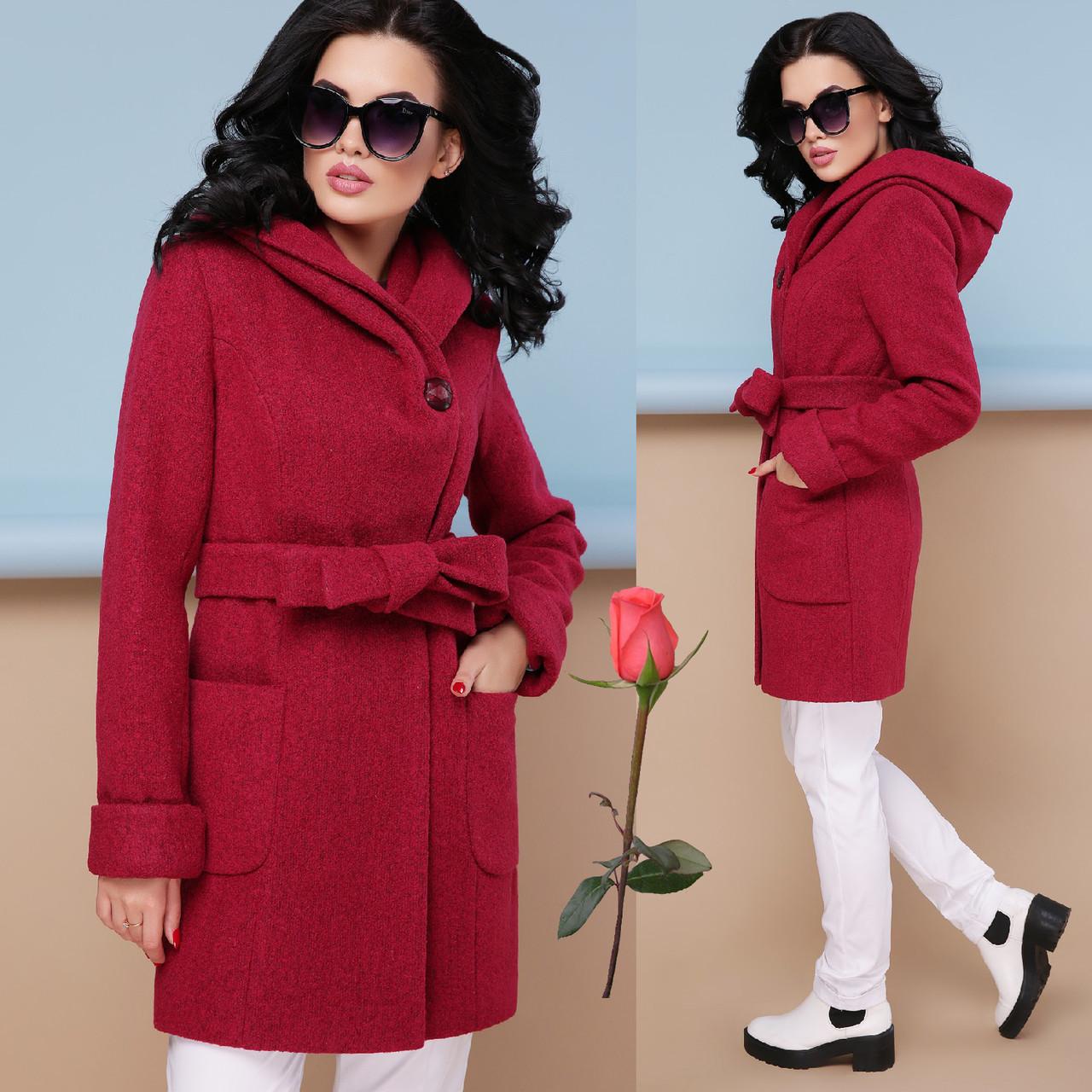 Модное демисезонное пальто с шикарным капюшоном  GL  77003  Вишня