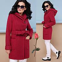 Модное демисезонное пальто с шикарным капюшоном  GL  77003  Вишня, фото 1