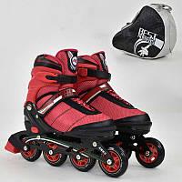 """Ролики 8903 """"L"""" Best Roller цвет-КРАСНЫЙ /размер 39-42/ (6) колёса PU, без света, в сумке, d=7.6 см"""