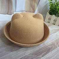 Шляпа женская котелок Кошечка с ушками бежевая, фото 1