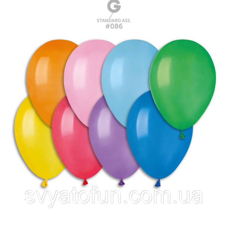 """Латексные воздушные шарики 8"""" пастель 80 ассорти Gemar"""