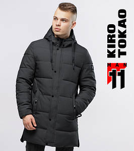 11 Kiro Tokao | Длинная зимняя куртка 6001 серый