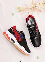 Черные с красным кроссовки женские 25743, фото 1