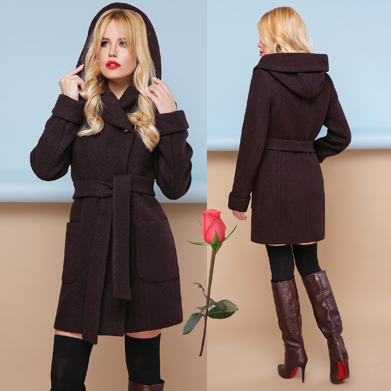 Модное демисезонное пальто с шикарным капюшоном  GL  77003  Шоколад