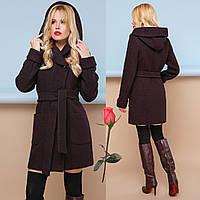 Модное демисезонное пальто с шикарным капюшоном  GL  77003  Шоколад, фото 1