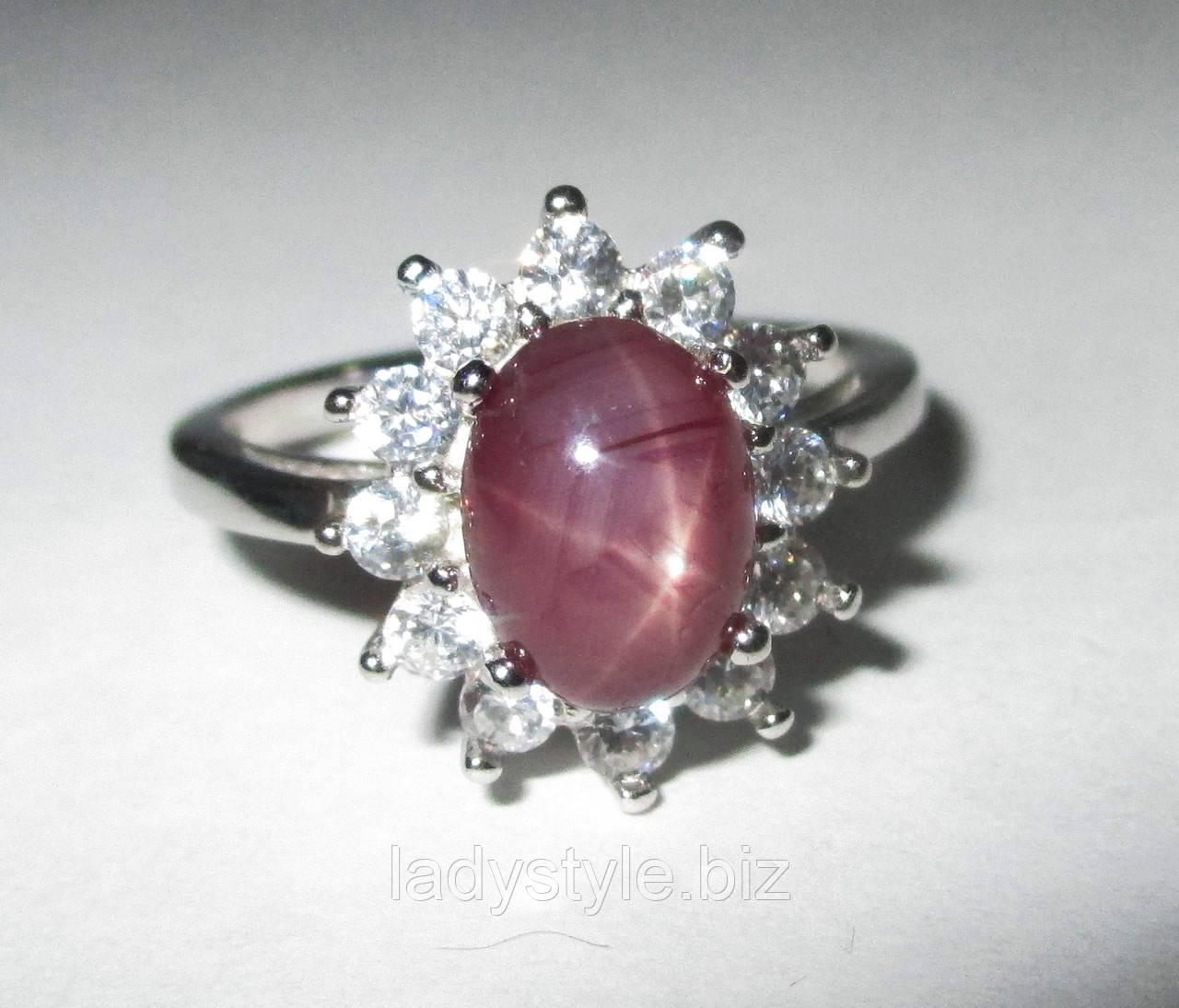 """Серебряный перстень """"Классика """" со звездчатым рубином , размер 17.8"""
