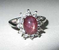 """Серебряный перстень """"Классика """" со звездчатым рубином , размер 17.8, фото 1"""