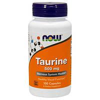 Таурин 500 мг 100 капс для сердца и сосудов от атеросклероза гипертонии мочегонное для зрения NOW Foods