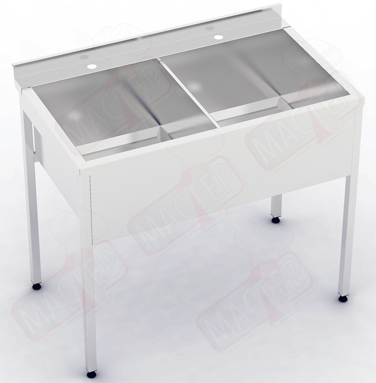 Мийна ванна 2-х секційна з бортом ВС 1000х500х850 (гл 300)