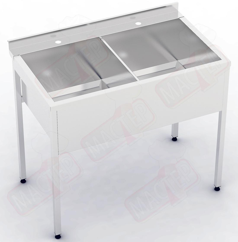 Моечная ванна 2-х секционная с бортом ВС 1100х600х850 (гл 350)