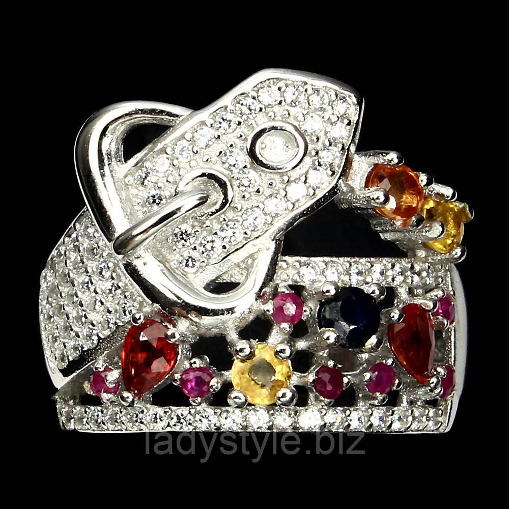 """Серебряное кольцо  """"Ремешок"""" с  цветными  сапфирами и рубином , размер 17,6"""