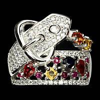 """Серебряное кольцо  """"Ремешок"""" с  цветными  сапфирами и рубином , размер 17,6, фото 1"""